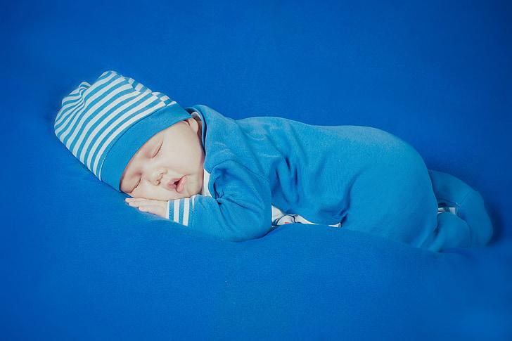 noi, nadó, nen, nadó, blau, Retrat, fotos