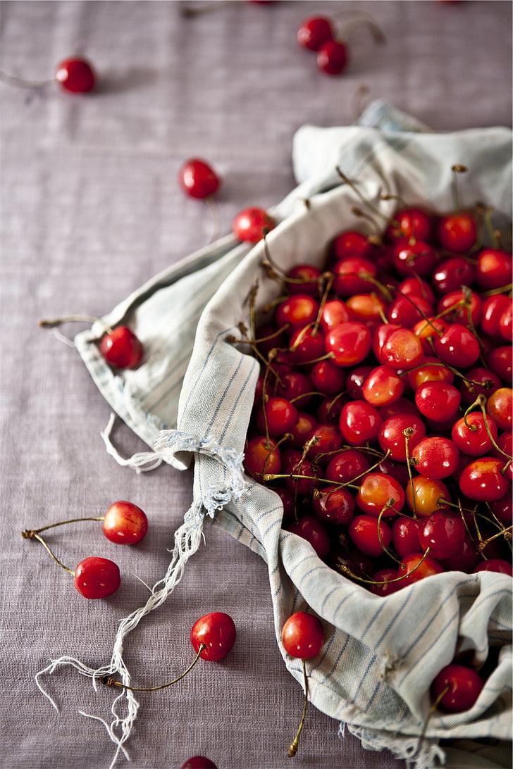 punane, kirsid, valge, tekstiil, puuviljad, terve, toidu
