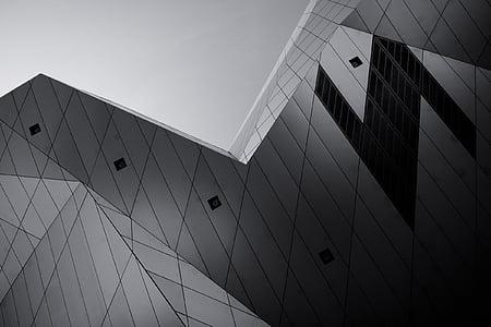 Architektura, budova, infrastruktura, Muzeum, černá a bílá, obchodní, moderní
