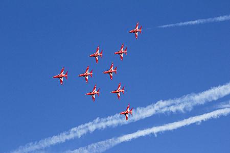 red, arrows, raf, jet, plane, air, show
