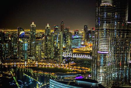staden, Dubai, natt, Hotel, arkitektur, stadsbild, resor