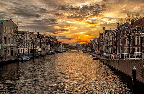 fluvial, canal, Holanda, cases, posta de sol, l'aigua, riu