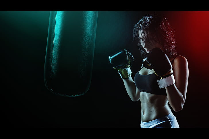 girl, boxer, ring, boxing pear, beautiful girl, gloves, sports