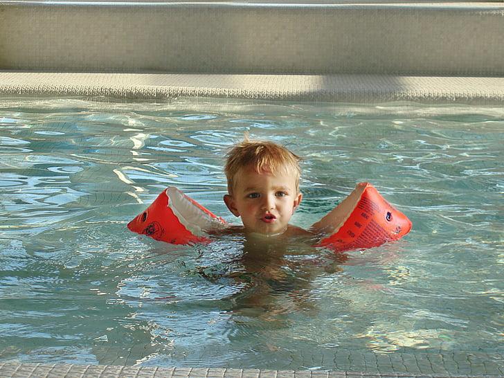 ales d'aigua, nen, noi, nedar, cara, Ros, piscina
