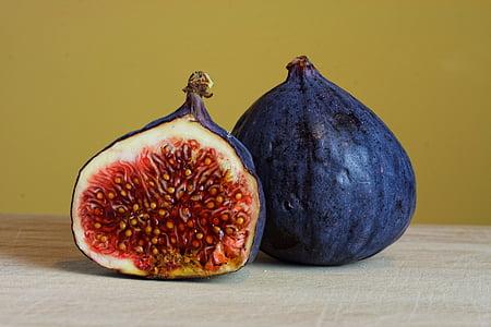 blå, skivad, frukt, fikon, frukter, mat, friska