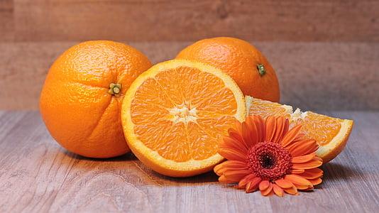oranža, citrusaugļi, augļi, veselīgi, c vitamīns, Frisch, puse
