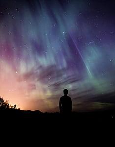 Aurora, aurora borealis, Borealis, natur, nordlige, mand, silhuet