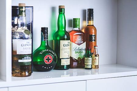 bottles, bottle, whiskey, alcohol, alcoholism, party, drink