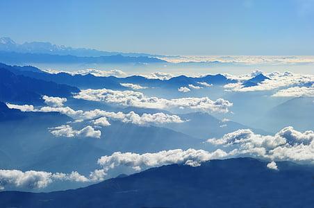 Nepal, Himalayan, Viaggi, airphoto, blu, nube - cielo, cielo