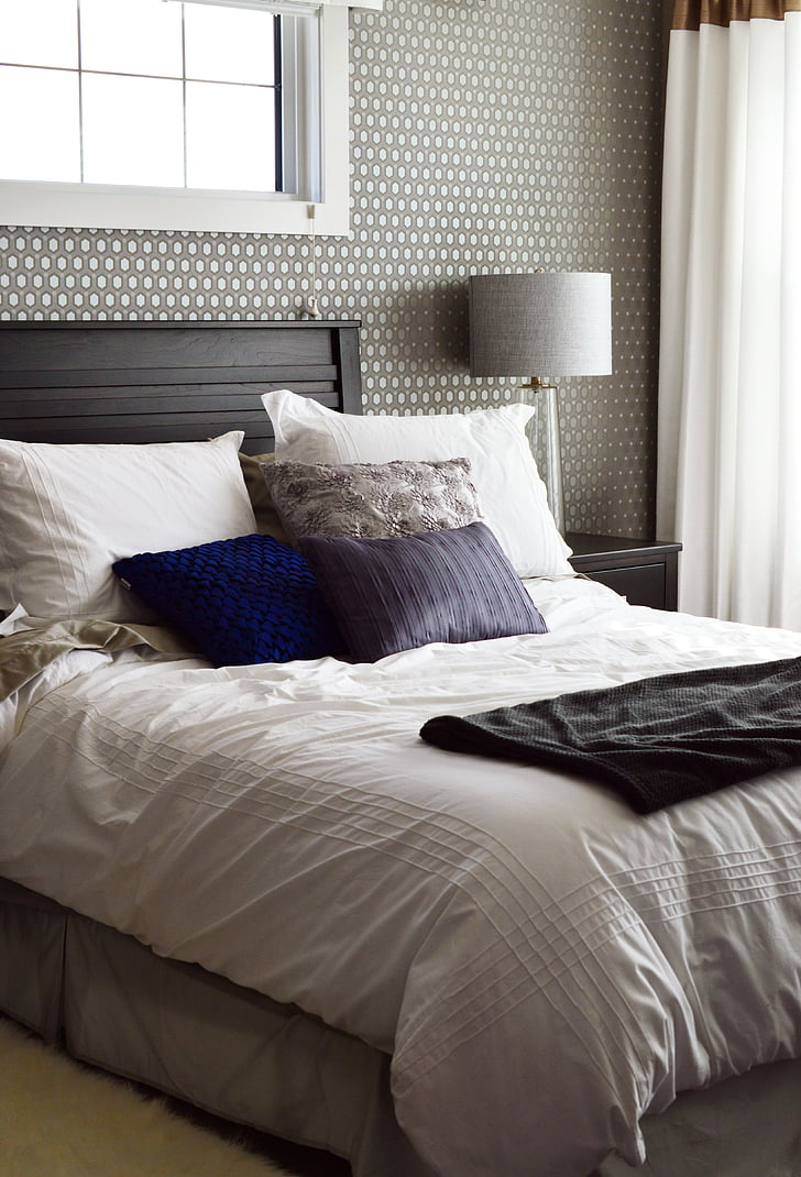 bed, bedroom, home, house, pillows, bedding, blanket