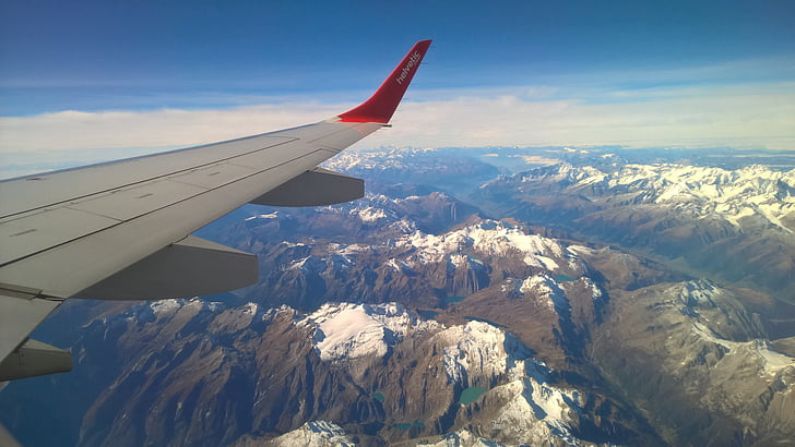 flygplan, trafikflygplan, flygplan, Alperna, fågelperspektiv, flygande, bergen