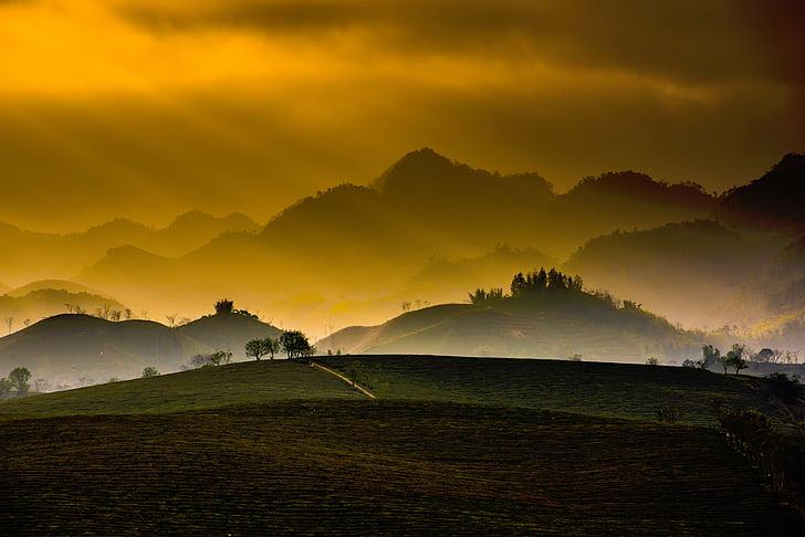 naturen, bergen, träd, gräs, Plains, Sky, molnet