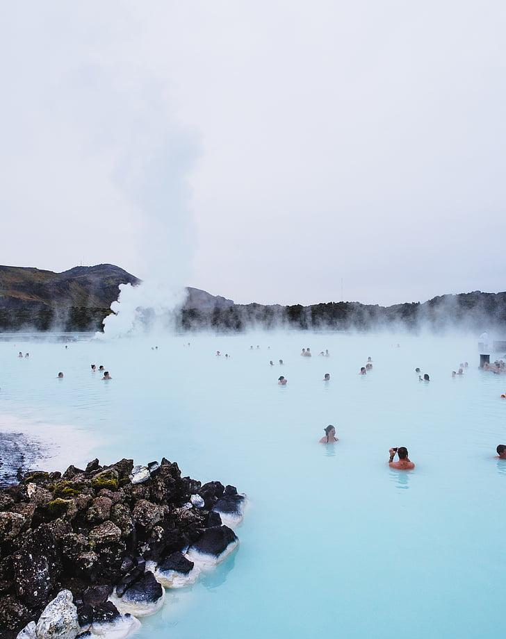 bany, calenta, aigües termals, Llac, relaxant, roques, Natació