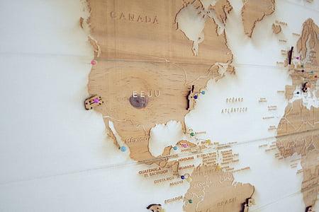 Geografia, mapa, marques, agulles de cap, viatges