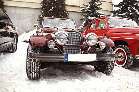 retro car, chrysler le baron convertible, wedding car, auto, wedding, the ceremony, marry