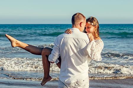 l'amor, un parell de, Parella jove, estat d'ànim, Mar, excursió, oceà