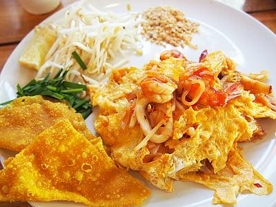 rilievo tailandese, cibo tailandese, cibo, Noodle, uovo, delizioso, Padthai
