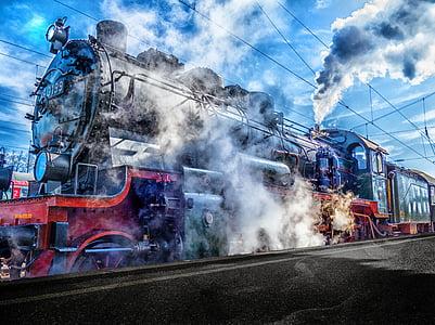 tren, ferrocarril de, estación de tren, locomotora de vapor, HDR, tráfico de carril, tren de vapor