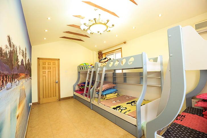 villa, party, bedroom, bed, indoor, bunk