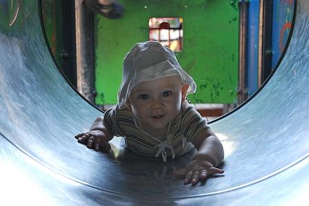 băiat, joc, în aer liber, fericit, copil, copil, copilărie