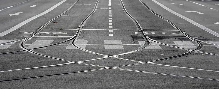 track, the tram, street, city, transport, transportation