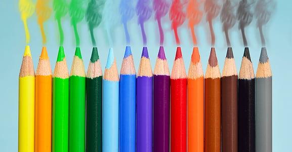 bolígrafs, fum, colors, groc, taronja, blau, verd