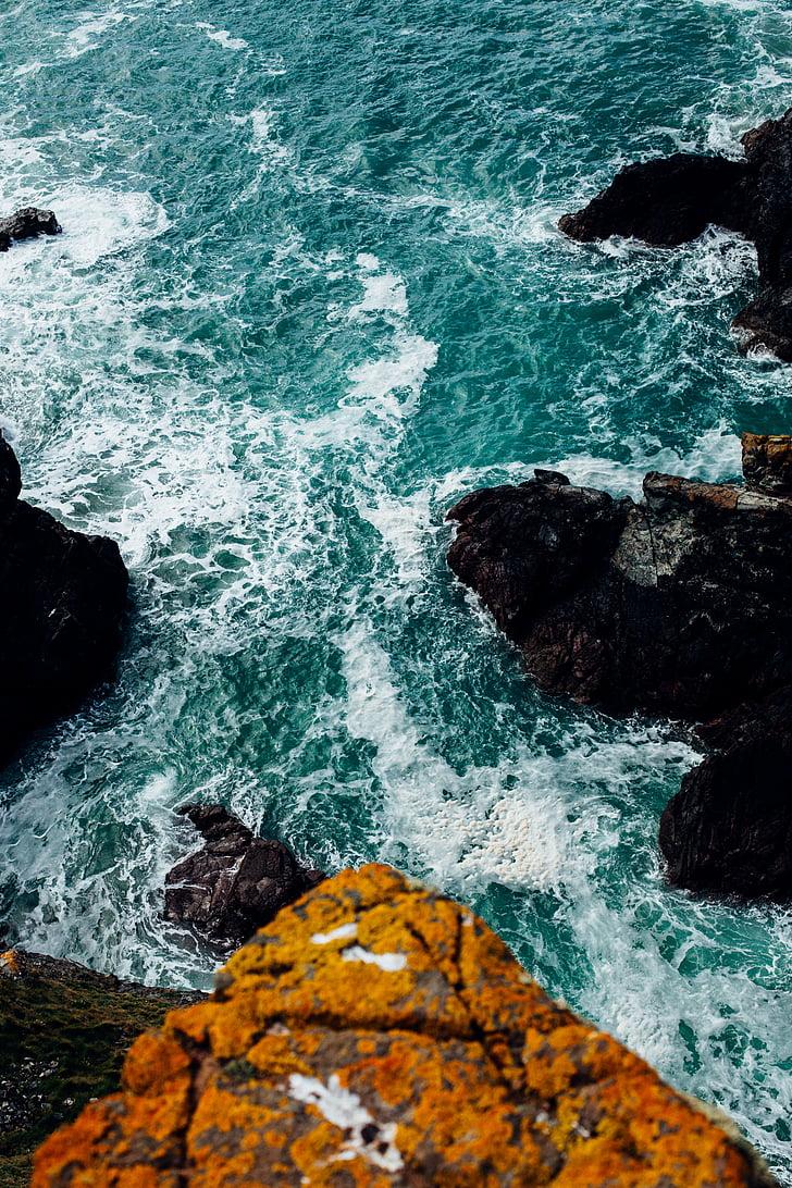 mar, oceano, azul, água, natureza, ondas, pedras