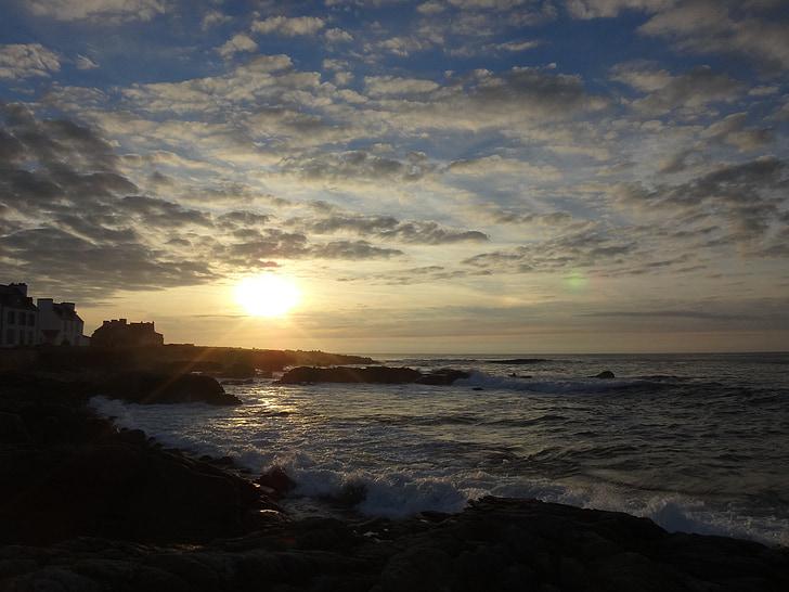 pôr do sol, céu da noite, Bretanha, França, sol, natureza, férias