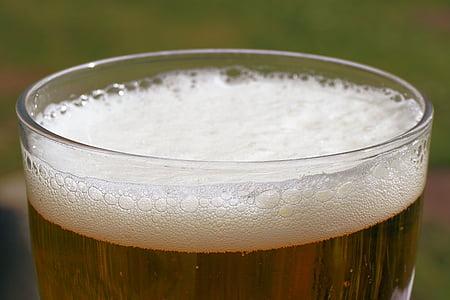 bier, Bierglas, schuim, bierschuim, bier kroon, drankje, dorst