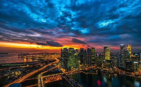 horitzó, ciutat, urbà, paisatge urbà, arquitectura, gratacels, edifici