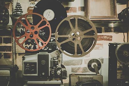 movie, reel, projector, film, cinema, entertainment, retro