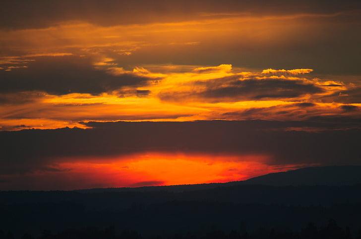 pôr do sol, nuvem, arrebol, abendstimmung