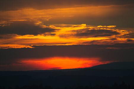 ηλιοβασίλεμα, σύννεφο, μεταλαμπή, abendstimmung