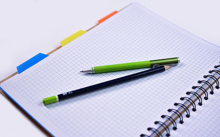graphing paper, laptop, notebook, paper, pen, pencil