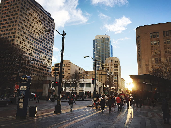 architecture, buildings, city, downtown, people, road, street