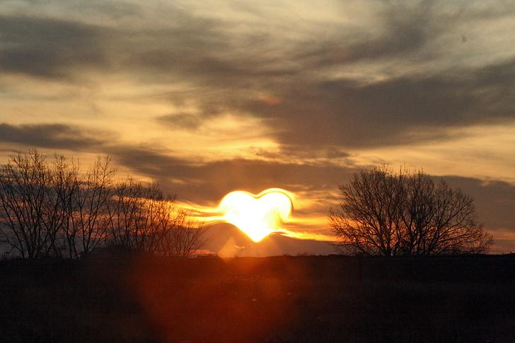 cor, l'amor, sol, posta de sol, natura, capvespre, cel