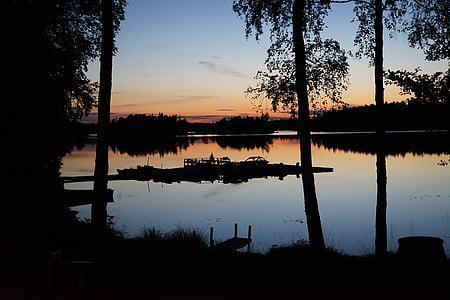 Sunset, Sverige, bådene, aftenhimmel, Waldsee, solen, stadig