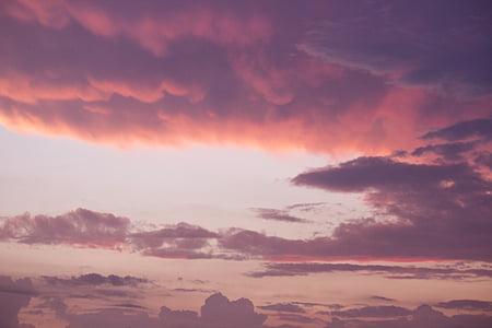 rosa, cielo, tramonto, nuvole, natura, nube - cielo, cielo drammatico