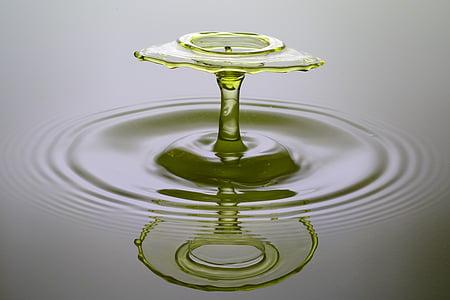 DROPP, spray, vatten, vätska, gul, hög hastighet, droppe vatten