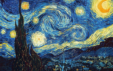 starry sky, van gogh, oil painting, abstract, full frame, textured, backgrounds