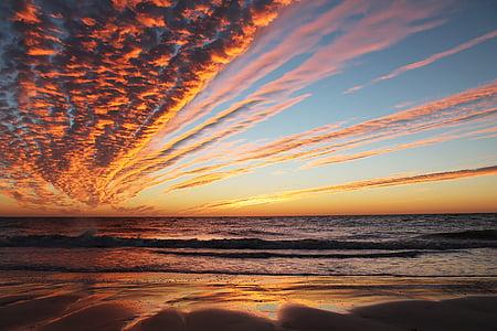posta de sol, platja, oceà, escèniques