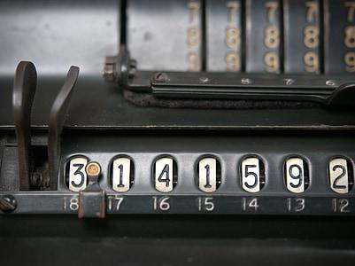 Vintage, Kalkylatorn, PI, beräkning, beräkna, uträkningen, matematik