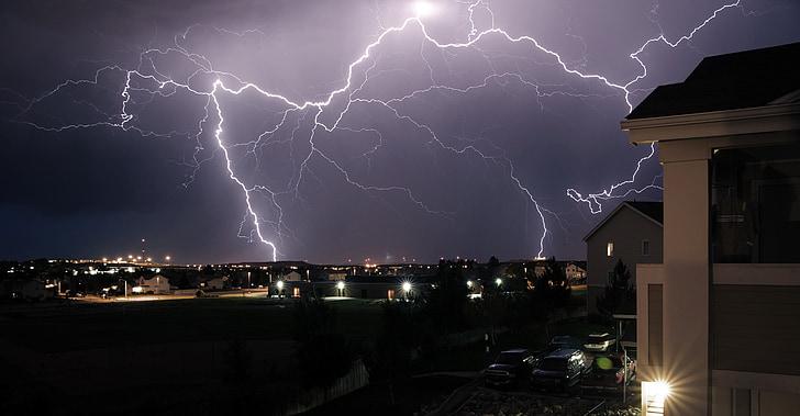 พายุ, ฟ้าร้อง, รังสี, ฝนไฟฟ้า, คืน, ฟ้าผ่า, สีเข้ม