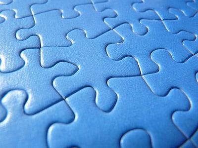 trencaclosques, blau, compartir, macro, àrea, patró, trencaclosques