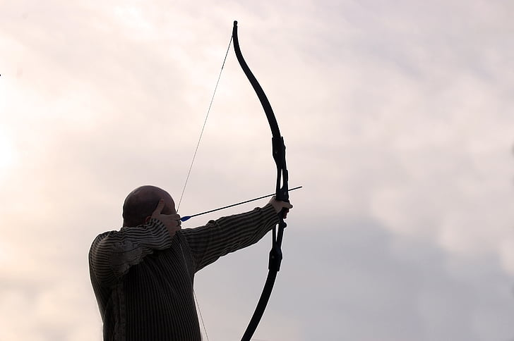 Archer, bultiņas, vīrietis, loks, mērķis, ierocis, mednieks