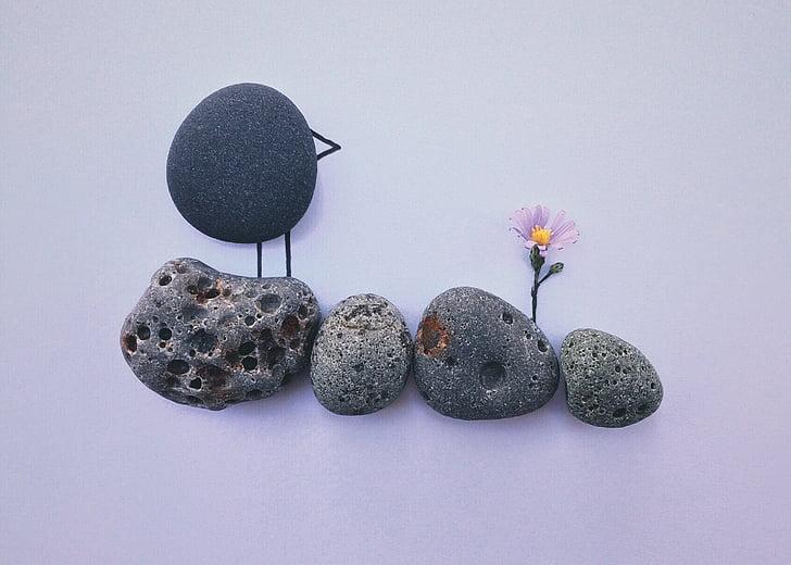 rock, Art, kézműves, madár, virág, természet