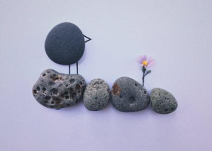 ร็อค, ศิลปะ, งานฝีมือ, นก, ดอกไม้, ธรรมชาติ