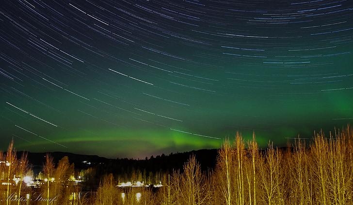 nordlys, tid bortfalder, aurora borealis, Aurora, solvinden, lys, grøn