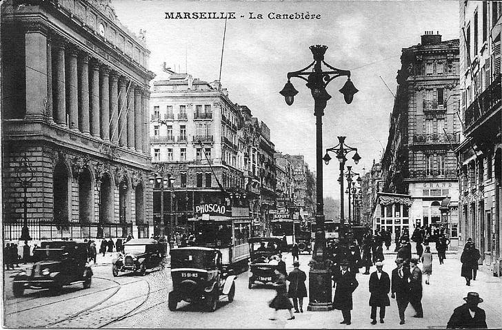 marseille, the canebière, france, old postcard, tram, bus, passers