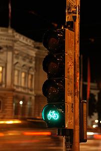 thành phố, đêm, đèn giao thông, lưu lượng truy cập, ánh sáng, chu kỳ, đô thị